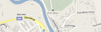 Mapa Zoologická zahrada Brno